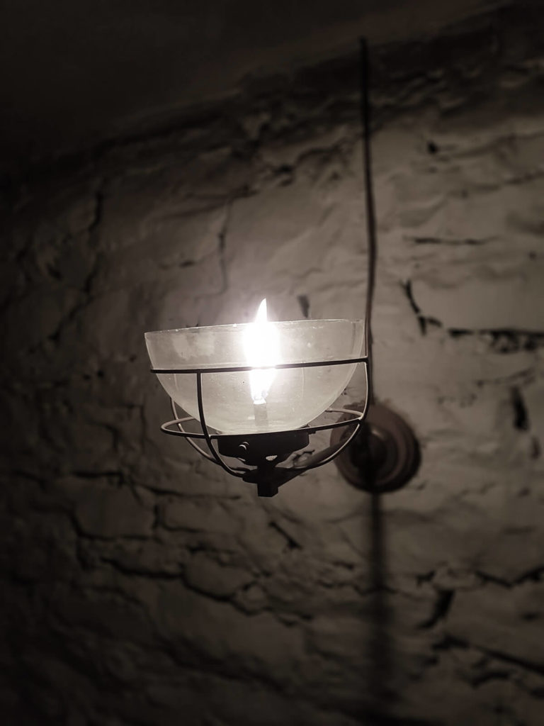 The Judges Lodging candle in light fitting