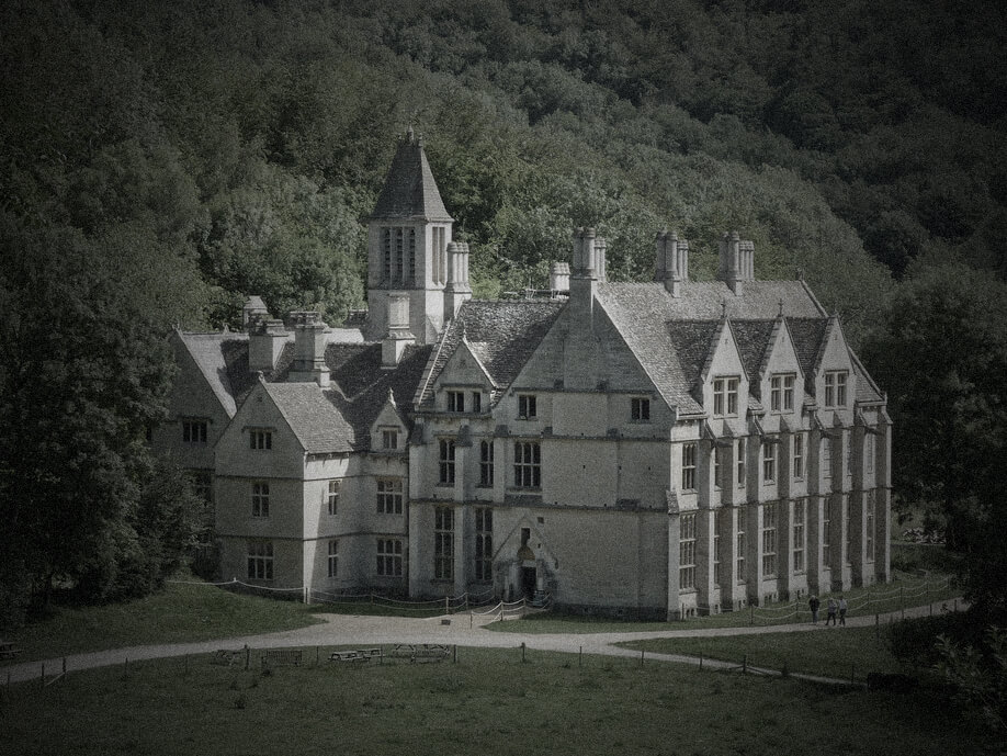 Woodchester Mansion exterior|Woodchester Mansion windows and tapestry|Woodchester Mansion hallway|Woodchester Mansion hallway|Woodchester Mansion gate|Woodchester Mansion masonry|Woodchester Mansion vaulted ceiling with window|Woodchester Mansion empty room|foggy forest