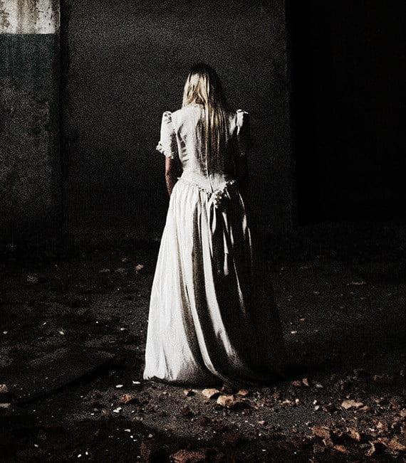woman in a dress facing away