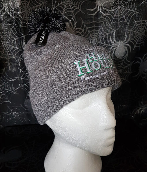 Haunted Houses light grey bobble hat