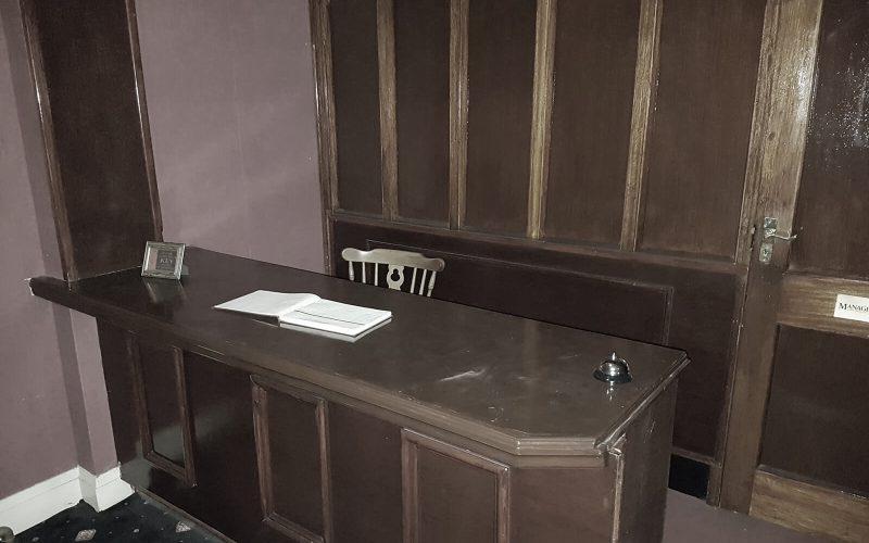 Abandoned Park Hotel desk