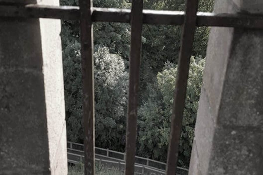 Dudley Castle metal bars over window