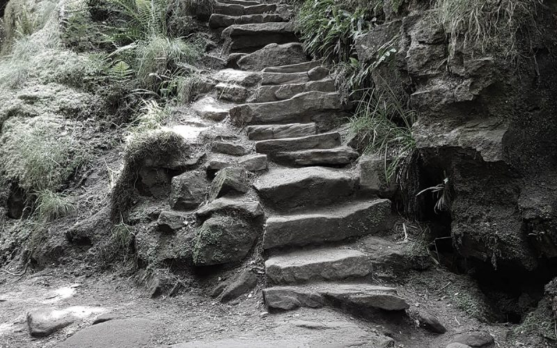 stone staircase up a hill