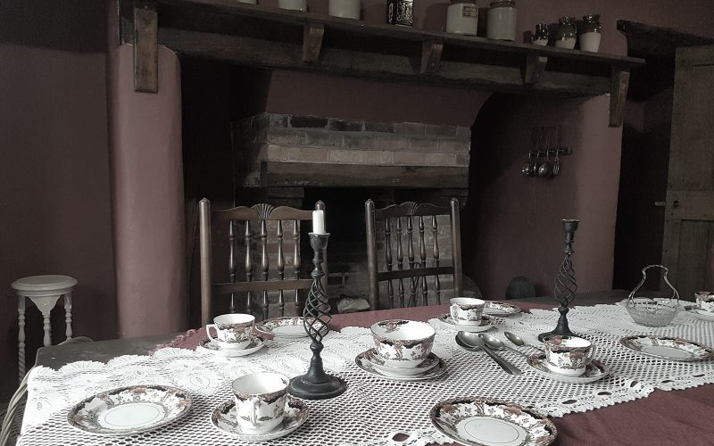 Haden Hill Hall dining table with china on