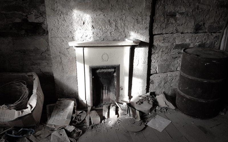 Fireplace in empty room