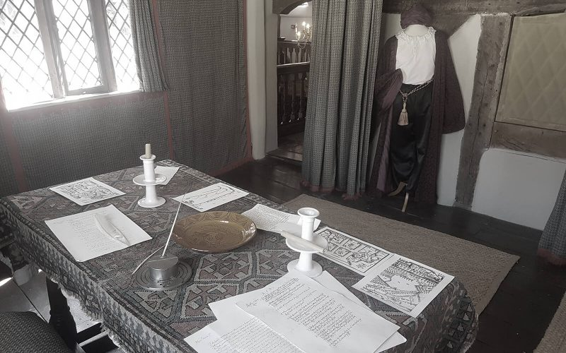 Nantclwyd-y-Dre table with old documents on