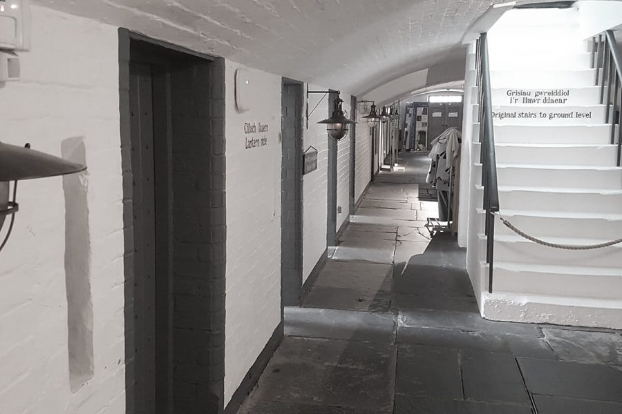 Ruthin Gaol corridor with cell doors