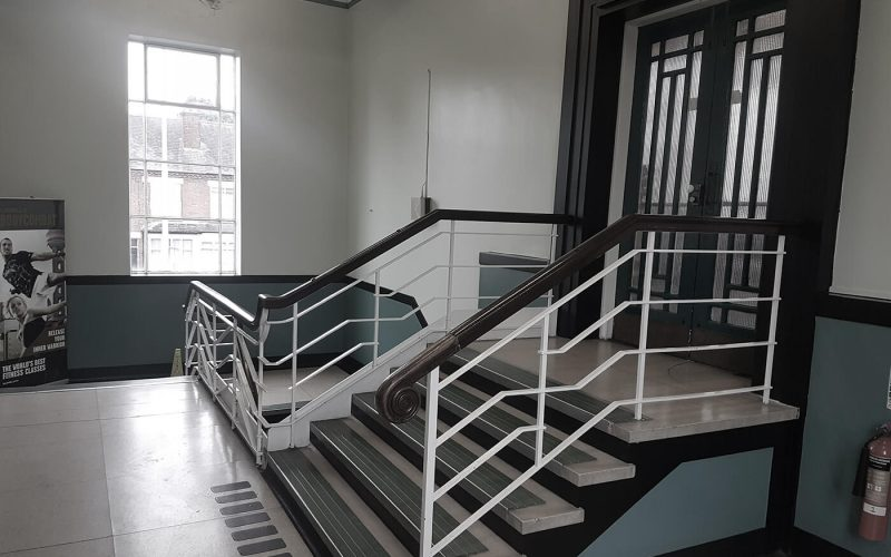 Smethwick Baths staircase to glass door