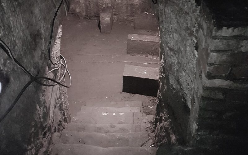 Strelley Hall steps down to cellar