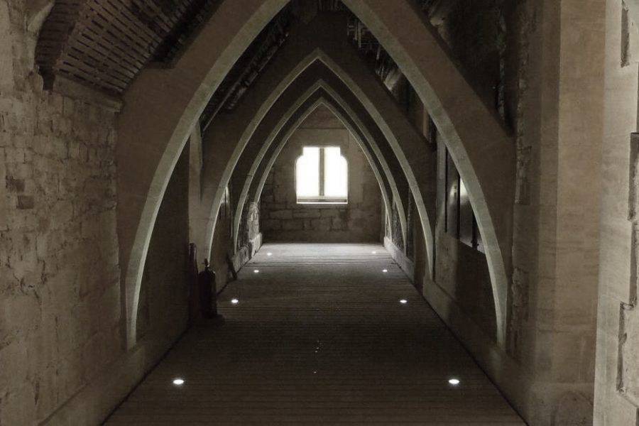 Woodchester Mansion vaulted ceiling with window