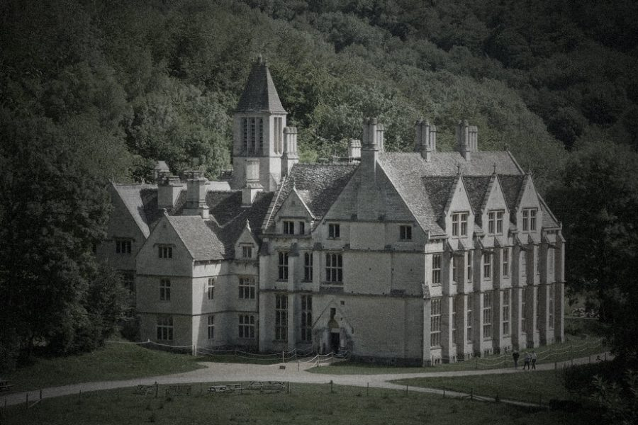 Woodchester Mansion exterior Woodchester Mansion windows and tapestry Woodchester Mansion hallway Woodchester Mansion hallway Woodchester Mansion gate Woodchester Mansion masonry Woodchester Mansion vaulted ceiling with window Woodchester Mansion empty room foggy forest